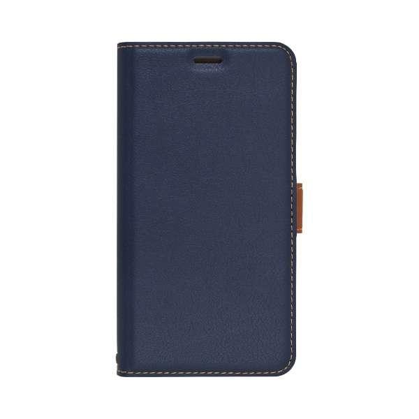 iPhone 11 6.1インチ  薄型手帳ケース サイドマグネット 5049IP961BO ネイビー×ブラウン