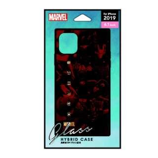 iPhone 11 6.1インチ 用 ガラスハイブリッドケース  アベンジャーズ ブラウン PG-DGT19B13AVG