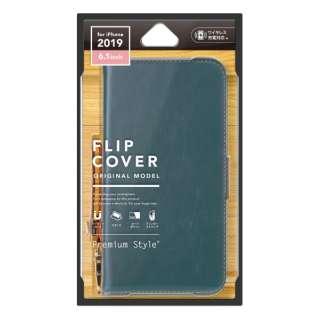 iPhone 11 6.1インチ 用 フリップカバー PUレザーダメージ加工 ブルー PG-19BFP01BL