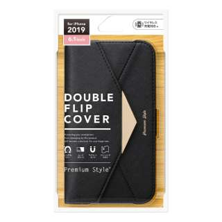 iPhone 11 6.1インチ 用 ダブルフリップカバー レター型 ブラック PG-19BFP06BK