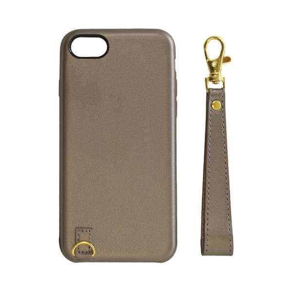 iPhone8/7/6s/6共用 ストラップ付キレザーケース 5213IP747HD ブラウン
