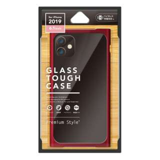 iPhone 11 6.1インチ 用 クリアガラスタフケース スクエア型 レッド PG-19BGT12RD