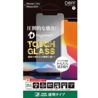 iPhone 11 Pro 5.8インチ 用ガラスフィルム TOUGH GLASS(平面ガラス2.5D+2次硬化) 「Dragontrail X」 透明 BKS-IP19SG3DF