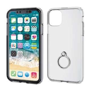 iPhone 11 6.1インチ対応 ハイブリッドケース リング付 シルバー PM-A19CHVCRSV