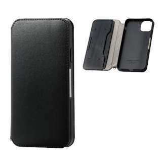 iPhone 11 Pro Max 6.5インチ ソフトレザーケース 磁石付 ブラック PM-A19DPLFY2BK