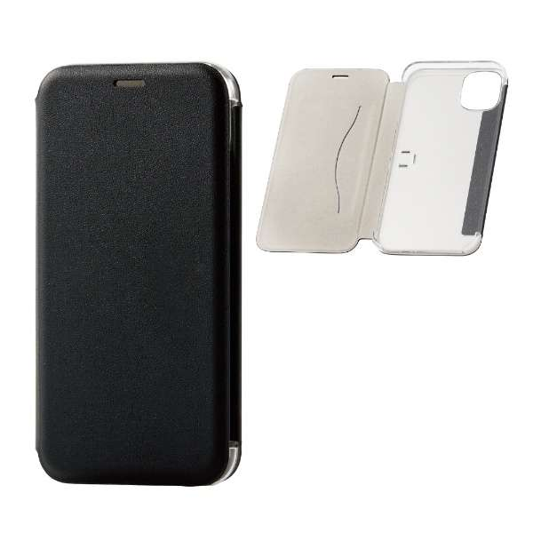 iPhone 11 6.1インチ対応 ソフトレザーケース 三ツ折リ 薄型 ブラック PM-A19CPLFUKBK