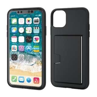 iPhone 11 6.1インチ対応 ソフトケース カード収納 ブラック PM-A19CUCCSBK