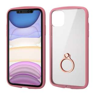 iPhone 11 6.1インチ対応 TOUGH SLIM LITE フレームカラー リング付 ピンク PM-A19CTSLFCRPN
