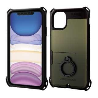 iPhone 11 6.1インチ対応 ZEROSHOCK リング付 カーキ PM-A19CZERORKH