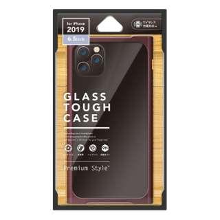 iPhone 11 Pro Max 6.5インチ 用 クリアガラスタフケース スクエア型 PG-19CGT12RD レッド