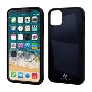 iPhone 11 6.1インチ対応 ハイブリッドケース ガラス ダイヤモンド ブラック PM-A19CHVCG7BK