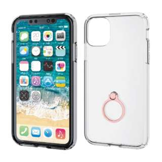 iPhone 11 6.1インチ対応 ハイブリッドケース リング付 ピンク PM-A19CHVCRPN