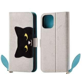 iPhone 11 Pro 5.8インチ対応 ソフトレザーケース 女子向 大ネコ グレー PM-A19BPLFJA201