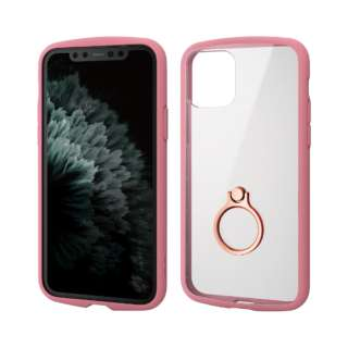 iPhone 11 Pro 5.8インチ対応 TOUGH SLIM LITE フレームカラー リング付 ピンク PM-A19BTSLFCRPN