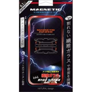 iPhone 11 6.1インチ 専用背面繊維ガラス×アルミバンパーケース Red iP19_61-MBP04