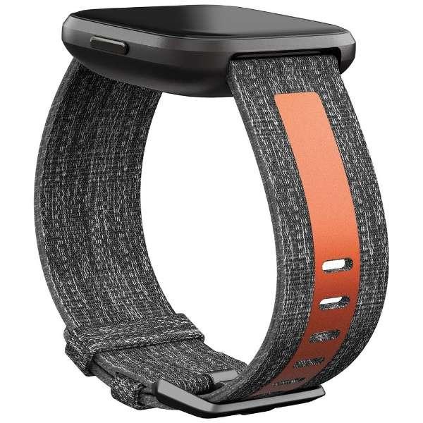 Fitbit Versaシリーズ専用 ウーブン/リフレクティブリサイクルバンド Charcoal/Orange Sサイズ FB171WBGYTAS チャコールオレンジ