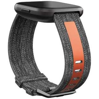 Fitbit Versaシリーズ専用 ウーブン/リフレクティブリサイクルバンド Charcoal/Orange Lサイズ FB171WBGYTAL チャコールオレンジ
