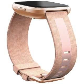 Fitbit Versaシリーズ専用 ウーブン/リフレクティブリサイクルバンド Pink Lサイズ FB171WBPKPKL ピンク