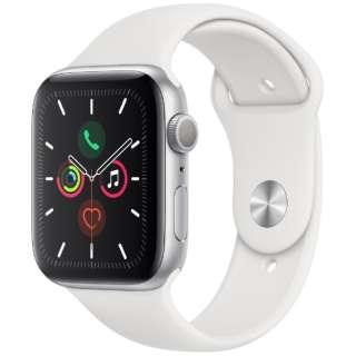 Apple Watch Series 5(GPSモデル)- 44mm シルバーアルミニウムケースとスポーツバンド ホワイト - S/M & M/L MWVD2J/A [Series5 /44mm /アルミニウム /スポーツバンド /シルバー /GPS]