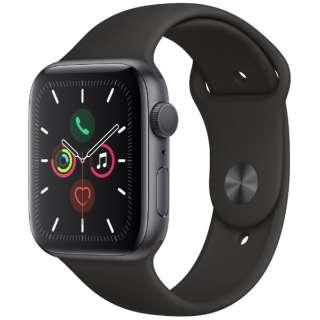 Apple Watch Series 5(GPSモデル)- 44mm スペースグレイアルミニウムケースとスポーツバンド ブラック - S/M & M/L MWVF2J/A [Series5 /44mm /アルミニウム /スポーツバンド /スペースグレイ /GPS]