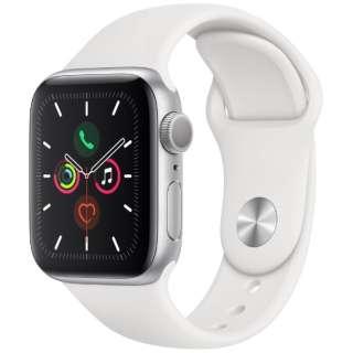 Apple Watch Series 5(GPSモデル)- 40mm シルバーアルミニウムケースとスポーツバンド ホワイト - S/M & M/L MWV62J/A [Series5 /40mm /アルミニウム /スポーツバンド /シルバー /GPS]
