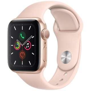 Apple Watch Series 5(GPSモデル)- 40mm ゴールドアルミニウムケースとスポーツバンド ピンクサンド - S/M & M/L MWV72J/A [Series5 /40mm /アルミニウム /スポーツバンド /ゴールド /GPS]