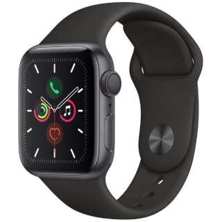 Apple Watch Series 5(GPSモデル)- 40mm スペースグレイアルミニウムケースとスポーツバンド ブラック - S/M & M/L MWV82J/A [Series5 /40mm /アルミニウム /スポーツバンド /スペースグレイ /GPS]