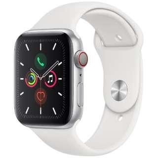 Apple Watch Series 5(GPS + Cellularモデル)- 44mm シルバーアルミニウムケースとスポーツバンド ホワイト - S/M & M/L MWWC2J/A [Series5 /44mm /アルミニウム /スポーツバンド /シルバー /GPS]