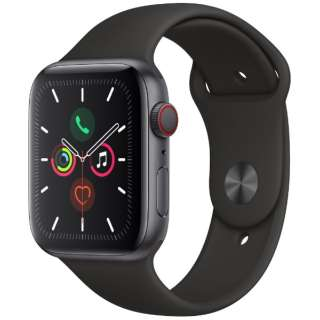 Apple Watch Series 5(GPS + Cellularモデル)- 44mm スペースグレイアルミニウムケースとスポーツバンド ブラック - S/M & M/L MWWE2J/A [Series5 /44mm /アルミニウム /スポーツバンド /スペースグレイ /GPS]
