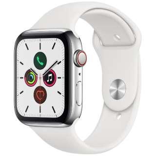 Apple Watch Series 5(GPS + Cellularモデル)- 44mm ステンレススチールケースとスポーツバンド ホワイト - S/M & M/L MWWF2J/A [Series5 /44mm /ステレンススチール /スポーツバンド /GPS]