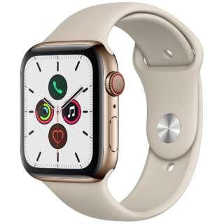 Apple Watch Series 5(GPS + Cellularモデル)- 44mm ゴールドステンレススチールケースとスポーツバンド ストーン - S/M & M/L MWWH2J/A [Series5 /44mm /ステレンススチール /スポーツバンド /GPS]