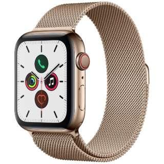 Apple Watch Series 5(GPS + Cellularモデル)- 44mm ゴールドステンレススチールケースとミラネーゼループ ゴールド MWWJ2J/A [Series5 /44mm /ステレンススチール /ミラネーゼループ /GPS]