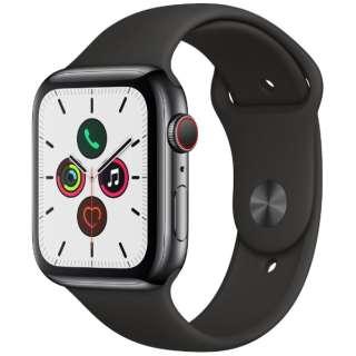 Apple Watch Series 5(GPS + Cellularモデル)- 44mm スペースブラックステンレススチールケースとスポーツバンド ブラック - S/M & M/L MWWK2J/A [Series5 /44mm /ステレンススチール /スポーツバンド /スペースブラック /GPS]