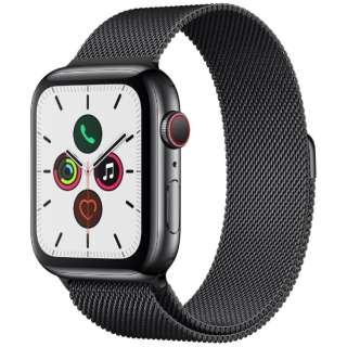 Apple Watch Series 5(GPS + Cellularモデル)- 44mm スペースブラックステンレススチールケースとミラネーゼループ スペースブラック MWWL2J/A [Series5 /44mm /ステレンススチール /ミラネーゼループ /スペースブラック /GPS]
