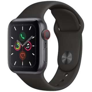 Apple Watch Series 5(GPS + Cellularモデル)- 40mm スペースグレイアルミニウムケースとスポーツバンド ブラック - S/M & M/L MWX32J/A [Series5 /40mm /アルミニウム /スポーツバンド /スペースグレイ /GPS]