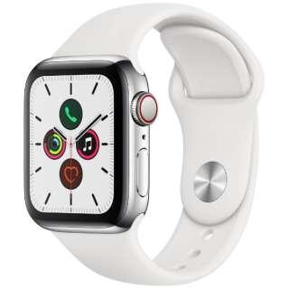 Apple Watch Series 5(GPS + Cellularモデル)- 40mm ステンレススチールケースとスポーツバンド ホワイト - S/M & M/L MWX42J/A [Series5 /40mm /ステレンススチール /スポーツバンド /GPS]