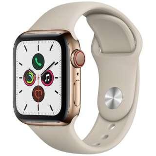 Apple Watch Series 5(GPS + Cellularモデル)- 40mm ゴールドステンレススチールケースとスポーツバンド ストーン - S/M & M/L MWX62J/A [Series5 /40mm /ステレンススチール /スポーツバンド /GPS]