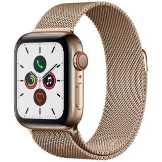 Apple Watch Series 5(GPS + Cellularモデル)- 40mm ゴールドステンレススチールケースとミラネーゼループ ゴールド MWX72J/A [Series5 /40mm /ステレンススチール /ミラネーゼループ /GPS]