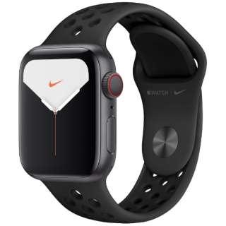 Apple Watch Nike Series 5(GPS + Cellularモデル)- 40mm スペースグレイアルミニウムケースとNikeスポーツバンド アンスラサイト/ブラック - S/M & M/L MX3D2J/A [Series5 /40mm /アルミニウム /スポーツバンド /スペースグレイ /GPS]
