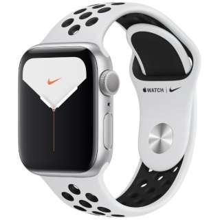 Apple Watch Nike Series 5(GPSモデル)- 40mm シルバーアルミニウムケースとNikeスポーツバンド ピュアプラチナム/ブラック - S/M & M/L MX3R2J/A [Series5 /40mm /アルミニウム /スポーツバンド /シルバー /GPS]