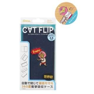 iPhone 11 Pro 5.8インチ KUSUKUSU CAT FLIPレスラーネイビー