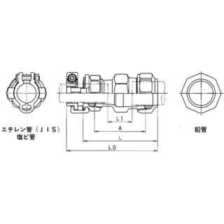 SKカワニシ 鉛管2種×塩ビ管用異種継手 SKX鉛管用異種ソケット V25×L25 SKX-S-V25XL25