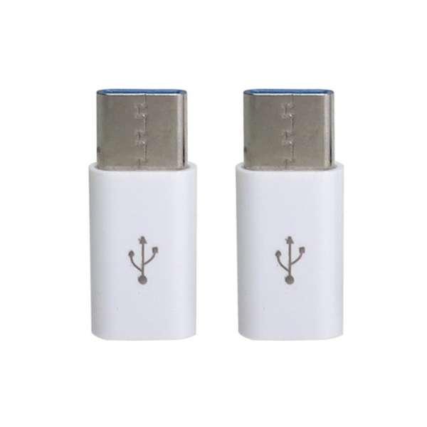 [USB-C オス→メス micro USB]2.0変換アダプタ 充電・転送(2個セット) CAD-P2W ホワイト