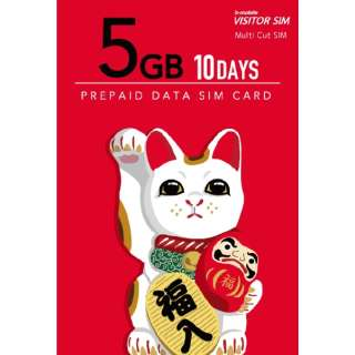 マルチカットSIM ドコモ回線 「b-mobile VISITOR SIM 5GB 10days Prepaid」 BM-VSC2-5GB10DC