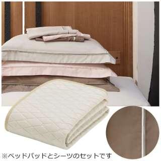 【ベッドパッド/ボックスシーツ】セレクト3点セット(コットンメッシュベッドパッド/プレミアムボックスシーツ2枚/ラテブラウン/シングルサイズ) フランスベッド