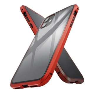 iPhone 11 アルミ×ガラス マグネットケース/レッド IS-P21AG1/R レッド