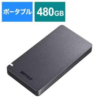 SSD-PGM480U3-B 外付けSSD ポータブル 480GB 超小型 PS4対応 Type-C ブラック [ポータブル型 /480GB]