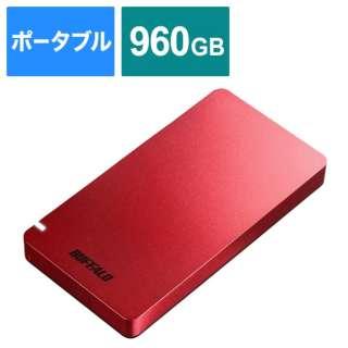 SSD-PGM960U3-R 外付けSSD USB-C+USB-A接続 (PS5対応) レッド [960GB /ポータブル型]