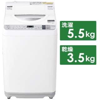 ES-TX5D-S 縦型洗濯乾燥機 シルバー系 [洗濯5.5kg /乾燥3.5kg /ヒーター乾燥 /上開き]