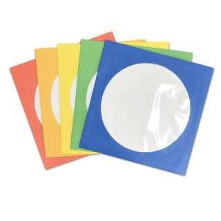 100枚収納 DVD/CDペーパースリーブケース 窓付きタイプ カラーMIX(100枚:5色×各20枚) ESPSC100CA 5色アソート(青・緑・黄・橙・赤)
